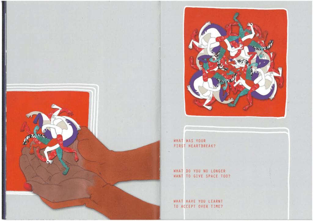 Links halten zwei rotbraun/Schwarze Hände einen Ballen von in einander verhedderten Körpern in allen Farben. Die Fingernägel der Hand sind rot lackiert. Rechts sieht man die ineinander verschränkten Körper vergrößert. Darunter drei Fragen